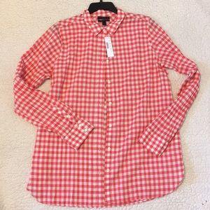J.crew Boy pink gingham button down shirt